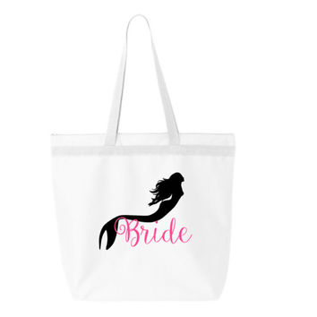 Mermaid wedding tote bag, Organic personalized tote bag, tote bag with zipper, bridal party tote, beach wedding tote bag, personalized bag