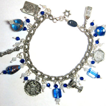 """Beautiful Pesach Charm Bracelet Sterling Chain Links Pewter Charms Passover Jewish 8.5"""" Judaica Seder OOAK"""