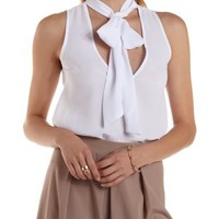 White Tie-Neck Sleeveless Chiffon Top by Charlotte Russe