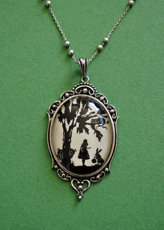 Alice in Wonderland Necklace pendant on chain by tinatarnoff