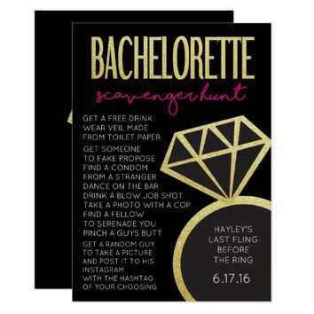 Bachelorette Party Game- Scavenger Hunt Card