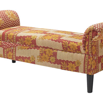 Kantha Roll-Arm Bench, Cream/Red, Entryway Bench