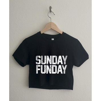 Sunday Funday Short Sleeve Cropped T Shirt