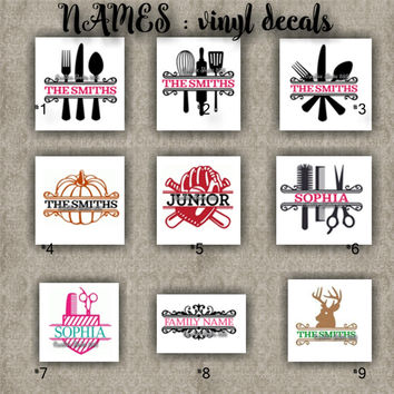 FAMILY NAMES vinyl decals | last name | initial | decal | sticker | car decals | car stickers | laptop sticker - 1-9