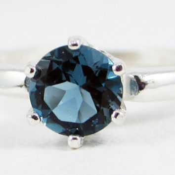 London Blue Topaz Solitaire Ring Sterling Silver, 6-prong Solitaire Ring, Blue Topaz Solitaire, December Birthstone Ring, Round Topaz Ring