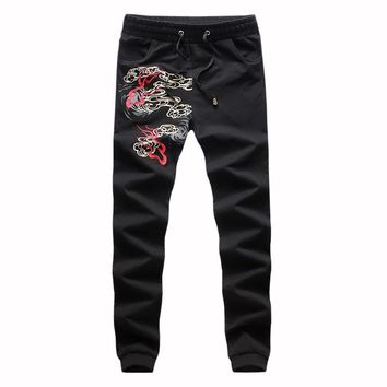 Men Pants 2016 New Casual Men Sweatpants Autumn&Spring Male Printed Drawstring Pocket Trousers For Male,Plus Size 5XL