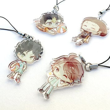 Nishinoya, Asahi, Iwaizumi, Oikawa - Haikyuu!! SET B Hand-Drawn Double Sided Front & Back Anime Acrylic Charms with Phone Strap
