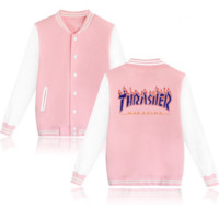 Thrasher flame special large size tide coat plus cashmere couple baseball clothing Purple letters