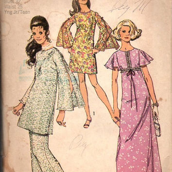 70s Retro Sewing Pattern Simplicity 8831 Bell Flutter Sleeve Maxi Midi Dress Wide Leg Pants Tunic Boho Hippie Style Bust 32