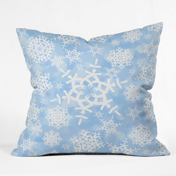 Lisa Argyropoulos Snow Flurries in Blue Throw Pillow