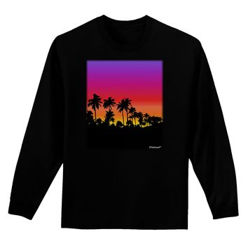 Palm Trees and Sunset Design Adult Long Sleeve Dark T-Shirt by TooLoud