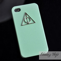 Deathly Hallows Mint Green Iphone Case Iphone 4 by MyShiningGift