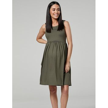 Nursing & Maternity Skater Dress in Army