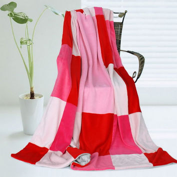 Onitiva - [Cerelia] Soft Coral Fleece Patchwork Throw Blanket (59 by 78.7 in)