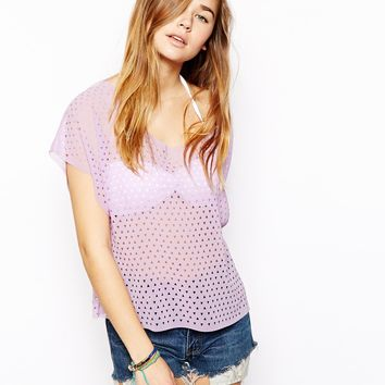 ASOS Triangle Laser Cut Beach Top - Lilac