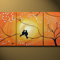 Love Birds Sitting on Tree Custom  HUGE 48X20 Acrylic by OritArt
