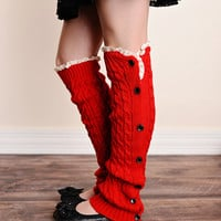 Cable Knit Button Down Boot Socks Red Leg Warmers