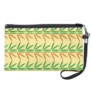 Pretty Brown Green Leaves Nature Pattern Wristlet