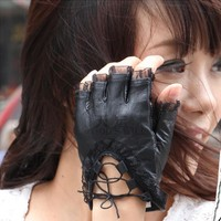 Women Black Lace Gloves Half Finger Soft Genuine Sheepskin Leather Gloves Ladies Dance Costume Sexy Gloves