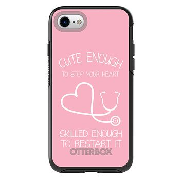DistinctInk™ OtterBox Symmetry Series Case for Apple iPhone / Samsung Galaxy / Google Pixel - Pink Nurse Stethoscope Heart