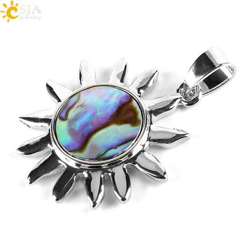 CSJA Natural New Zealand Round Sun Sunflower Necklaces Pendants Paua Abalone Shell Beads Best Friend Body Jewellery Gifts E339
