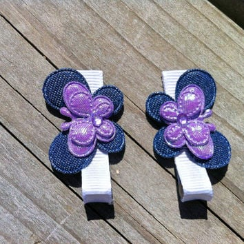 Butterfly clips, Girls hair clip set, Baby hair clips,butterly hairclips, hair bow set, ribbon hair clips, no slip clip, toddler hair clips