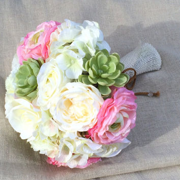 Succulent Bouquet. Hydrangea Ranunculus Roses Silk Wedding Bouquet. Shabby Chic Wedding Flowers in Pink Cream White. Ready to Ship.