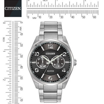 CITIZEN ECO DRIVE MENS STAINLESS STEEL DAY & DATE WATCH BLACK CASE AO9020-84E