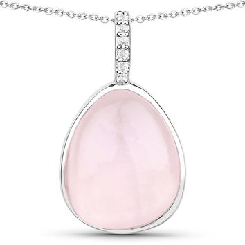 LoveHuang 7.75 Carats Genuine Rose Quartz and White Topaz Drop Pendant Solid .925 Sterling Silver With Rhodium Plating, 18 Inch Chain