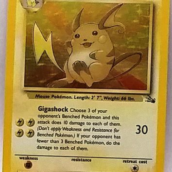 NICE HOLO! Raichu 14/62 Holo Rare Pokemon Fossil Set TCG VERY Sharp Pokemon Card NM+, Free Ship