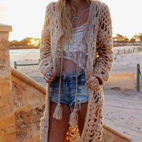 Fashion hollow out Boho coat