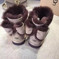 """""""UGG"""" Winter Fashion Women Warmer Bowknot Flat Snow Ankle Boots I/A"""