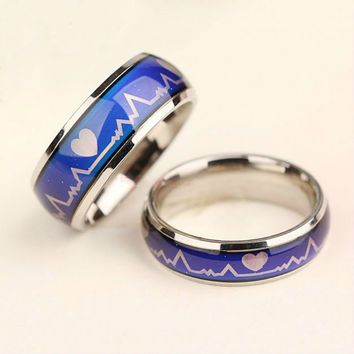 Women Men Emotion Feeling Changing Color Mood Temperature Couple Ring Jewelry