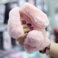 LANCASE For iPhone 6 Case Warm Rabbit Bunny Fur Rhinestone Bling Glitter TPU Cover For iPhone 6S 6 Plus 7 7 Plus Phone Cases