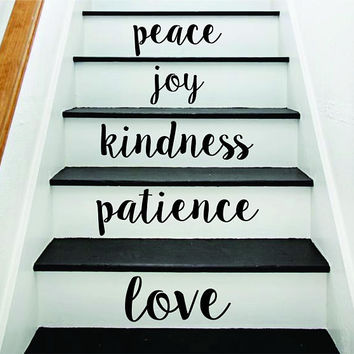Love Patience Stairs Quote Wall Decal Sticker Room Art Vinyl Joy Peace Happy Family Home House Staircase