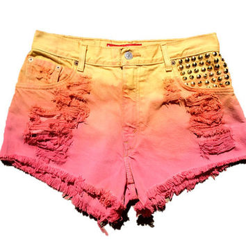 Studded Ombre Levi's High Waisted Cut Off Shorts