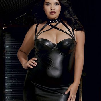 Plus Size Faux Leather Cut-Out Chemise