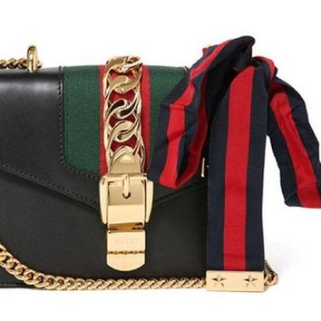 DCCKUG3 Gucci Women's Leather Classic Striped Bag