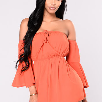 Dover Off Shoulder Romper - Rust