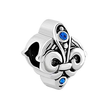 Blue Birthstone Crystal Fleurdelis Flower Charm Sale Cheap Beads Fit Pandora Jewelry Charms Bracelet