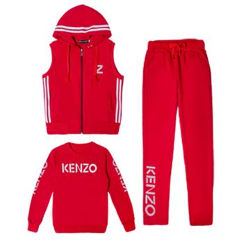 KENZO Casual Print Hoodie Top Sweater Pants Trousers Set Three-piece Sportswear