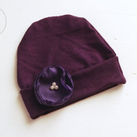 Newborn outfit newborn baby girl Dark Purple hat with Purple Flower baby hat baby hat newborn baby hospital hat baby hat