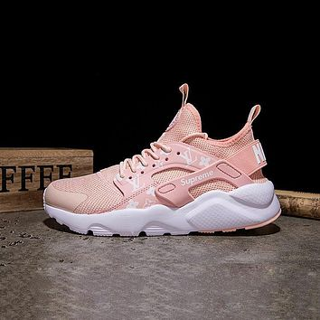 LV x Supreme x Nike Air Huarache Custom Light Pink White Sport Running Shoes-1