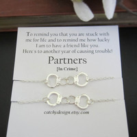 Set of -2-Partners in crime bracelets,Handcuff bracelet,Best friend gift,BFF,with Friendship Quote,best friend,Long Distance Friend