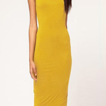 Yellow Cut out Backless O Neck Bodycon Midi Dress