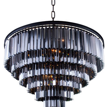 "Sydney Pendent Lamp D:44"" H:32"" Lt: Mocha Brown Finish (Royal Cut Silver Shade Crystals)"