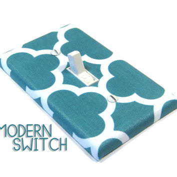 Teal Quatrefoil Light Switch Cover Geometric Decor Switchplate Switch Plate Modern Home Decor 1476