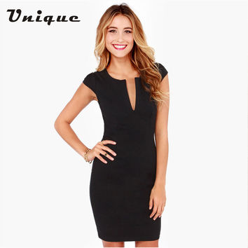 Elegant Ladies Office Dress Work Wear Sleeveless V Neck Women Summer Dress 2016 Casual Vestidos Plus Size Pencil Dress Black