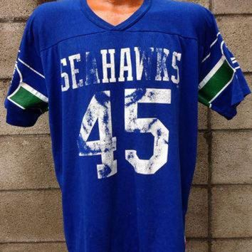 ICIKWV6 Seattle Seahawks Shirt Vintage Jersey Kenny Easley 1980s NFL Tee XL