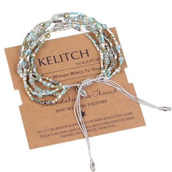 KELITCH Jewelry 1Pcs Classic Woven Seed Bead & Green Crystal Beads Handmade Strand Friendship Bracelets with Nice Package